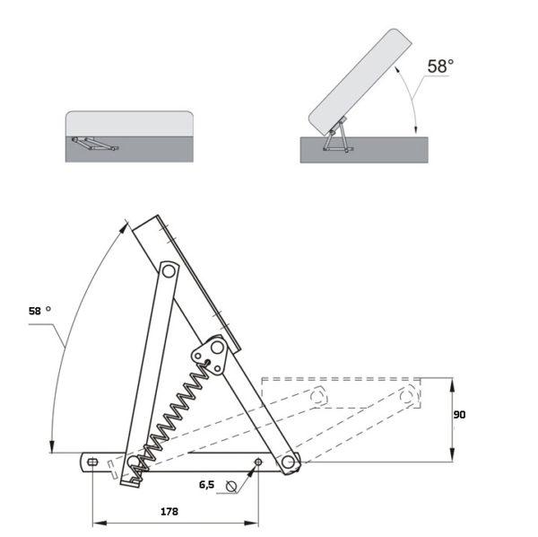 Подъемный механизм для дивана пружинный М-5551